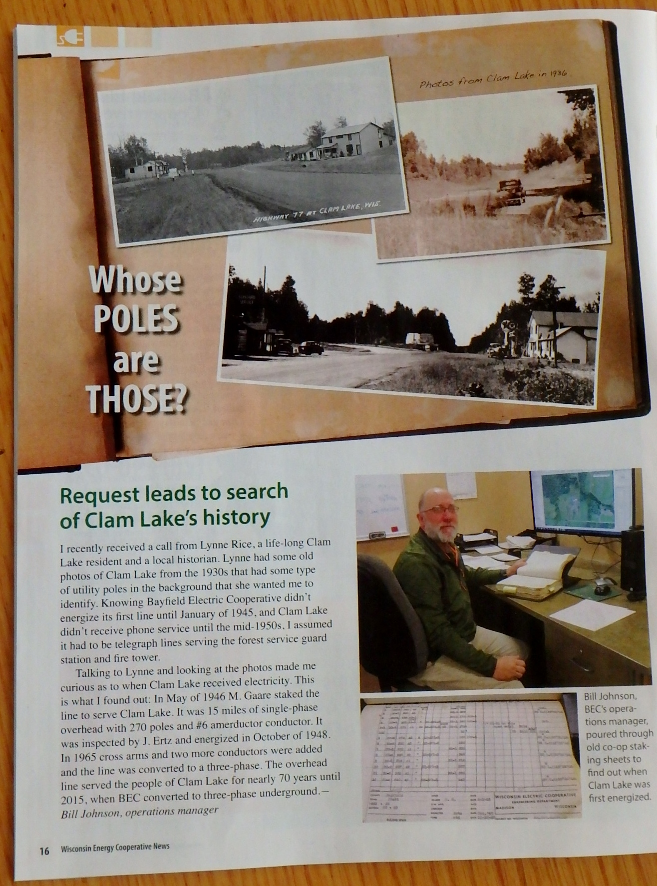Bill Johnson, BEC's operations manager, poured through old co-op staking sheets to find out when Clam Lake was first energized.